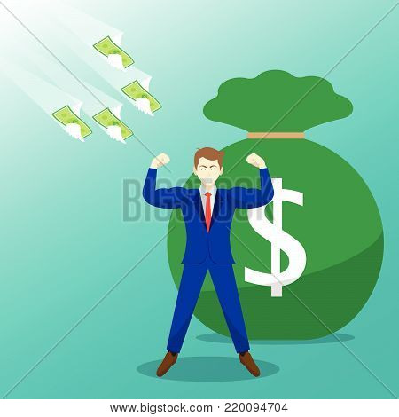 Vector Illustration Business Concept Designed As Money Flying Toward A Strong Businessman With Big Money Bag. It Means Best Self Performance Deserves Much Salary, Wage, Income, And Revenue.
