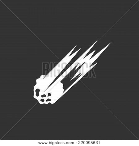 Asteroid icon illustration isolated on black background. Asteroid vector logo. Flat design style. Meteorite vector pictogram, sign, symbol for web graphics - stock vector
