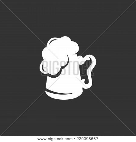 Mug with beer icon illustration isolated on black background. Mug with beer vector logo. Flat design style. Modern vector pictogram, sign, symbol for web graphics - stock vector