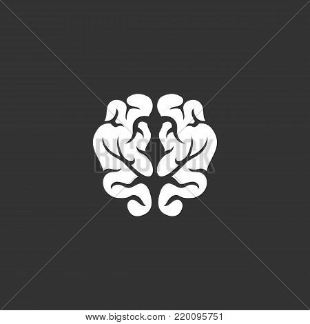 Brain icon illustration isolated on black background. Brain vector logo. Flat design style. Modern vector pictogram, sign, symbol for web graphics - stock vector