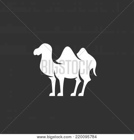 Bactrian camel icon illustration isolated on black background. Bactrian camel vector logo. Flat design style. Modern vector pictogram, sign, symbol for web graphics - stock vector