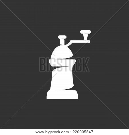 Coffe mill icon illustration isolated on black background. Coffe mill vector logo. Flat design style. Modern vector pictogram, sign, symbol for web graphics - stock vector