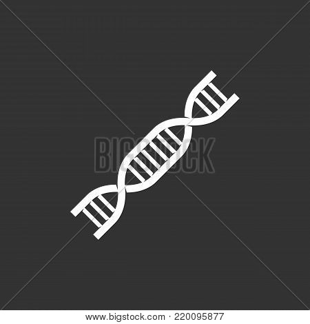 Dna icon illustration isolated on black background. Dna vector logo. Flat design style. Modern genetics vector pictogram, sign, symbol for web graphics - stock vector