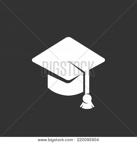 Education icon illustration isolated on black background. Education vector logo. Flat design style. Graduation cap vector pictogram, sign, symbol for web graphics - stock vector