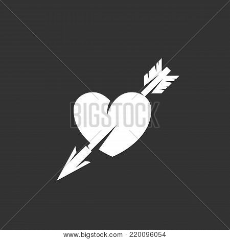 Heart with arrow icon illustration isolated on black background. Heart with arrow vector logo. Flat design style. Modern vector pictogram, sign, symbol for web graphics - stock vector