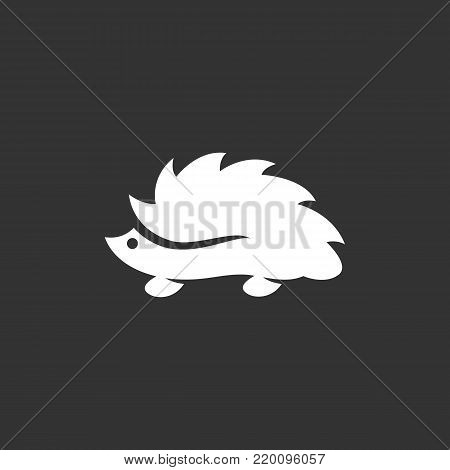 Hedgehog icon illustration isolated on black background. Hedgehog vector logo. Flat design style. Modern vector pictogram, sign, symbol for web graphics - stock vector