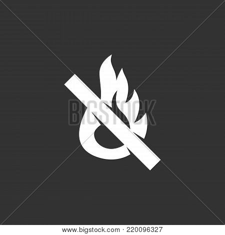 No fire icon illustration isolated on black background. No fire vector logo. Flat design style. Modern vector pictogram, sign, symbol for web graphics - stock vector