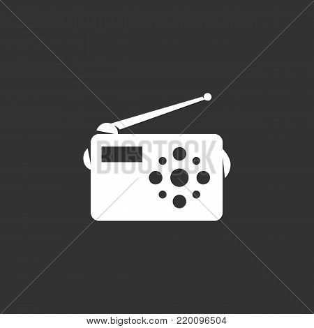 Radio icon illustration isolated on black background. Radio vector logo. Flat design style. Modern vector pictogram, sign, symbol for web graphics - stock vector