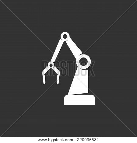 Industrial robot icon illustration isolated on black background. Industrial robot vector logo. Flat design style. Modern vector pictogram, sign, symbol for web graphics - stock vector