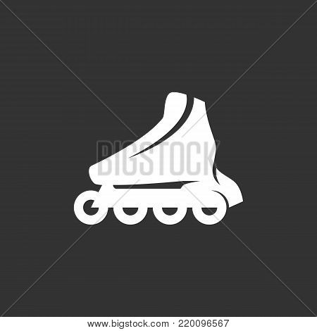 Roller skate icon illustration isolated on black background. Roller skate vector logo. Flat design style. Modern vector pictogram, sign, symbol for web graphics - stock vector