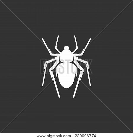 Spider icon illustration isolated on black background. Spider vector logo. Flat design style. Modern vector pictogram, sign, symbol for web graphics - stock vector