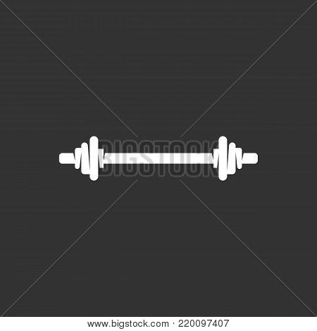 Barbell icon isolated on black background. Barbell vector logo. Flat design style. Modern vector pictogram for web graphics - stock vector