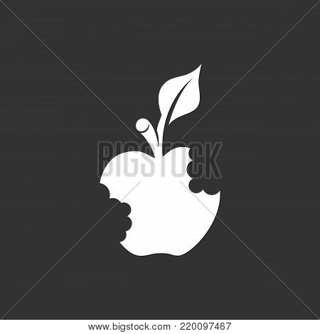 Bitten apple icon isolated on black background. Bitten apple vector logo. Flat design style. Modern vector pictogram for web graphics - stock vector