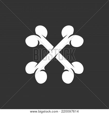 Crossbones icon isolated on black background. Crossbones vector logo. Flat design style. Modern vector pictogram for web graphics - stock vector