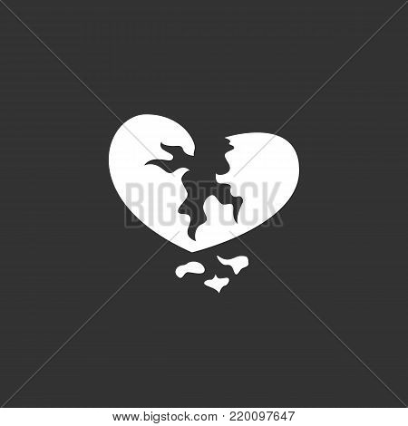 Broken heart icon isolated on black background. Broken heart vector logo. Flat design style. Modern vector pictogram for web graphics - stock vector