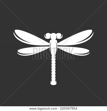 Dragonfly icon isolated on black background. Dragonfly vector logo. Flat design style. Modern vector pictogram for web graphics - stock vector