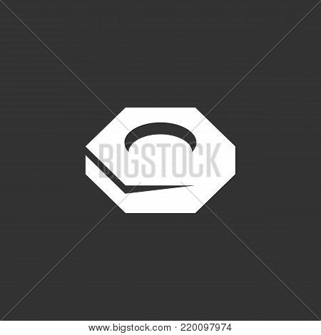 Nut screw icon isolated on black background. Nut screw vector logo. Flat design style. Modern vector pictogram for web graphics - stock vector