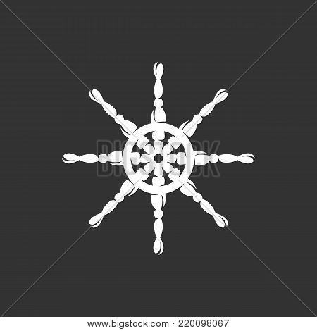 Helm icon isolated on black background. Helm vector logo. Flat design style. Wheel vector pictogram for web graphics - stock vector
