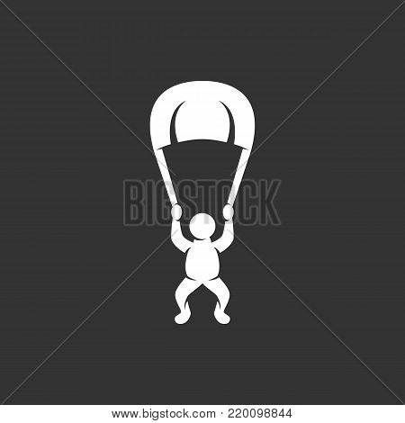 Skydiver icon illustration isolated on black background sign symbol. Skydiver vector logo. Modern vector pictogram for web graphics - stock vector