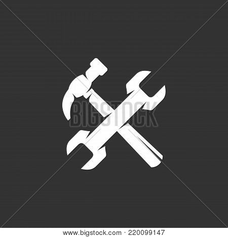 Tools or repair icon illustration isolated on black background sign symbol. Tools or repair vector logo. Modern vector pictogram for web graphics - stock vector