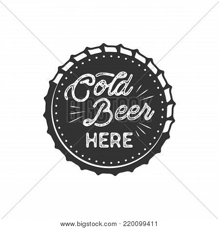 Vintage style beer badge. Ink stamp monochrome design. Cold beer here sign. Letterpress effect for t shirt printing, logotype, signage. isolated on white background. Monochrome.