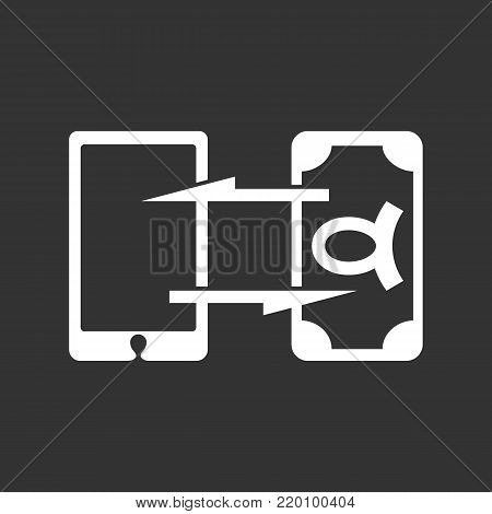 Mobile banking icon illustration isolated sign symbol. Mobile banking vector logo. Flat design style. Modern vector pictogram for mobile and web design - stock vector