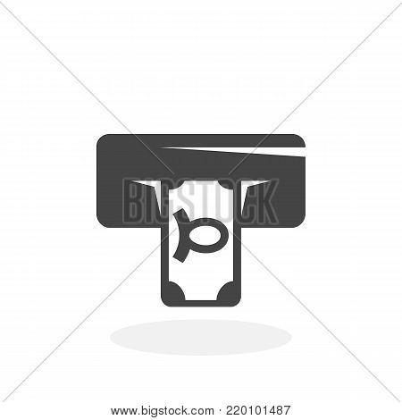 Cash withdrawals icon illustration isolated on white background sign symbol. Cash withdrawals vector logo. Flat design style. Modern vector pictogram for web graphics - stock vector