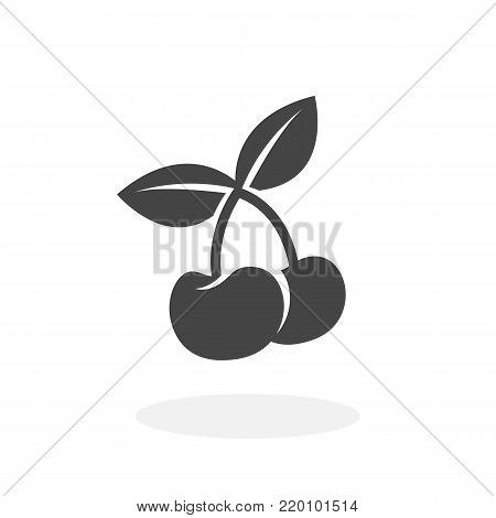 Cherry icon illustration isolated on white background sign symbol. Cherry vector logo. Flat design style. Modern vector pictogram for web graphics - stock vector