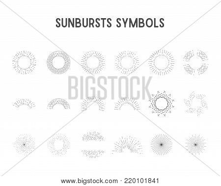 Set of vintage sunbursts, star lights. sillhouette, lineart design