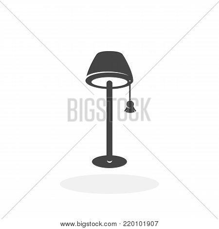 Floor lamp icon illustration isolated on white background sign symbol. Floor lamp vector logo. Flat design style. Modern vector pictogram for web graphics - stock vector
