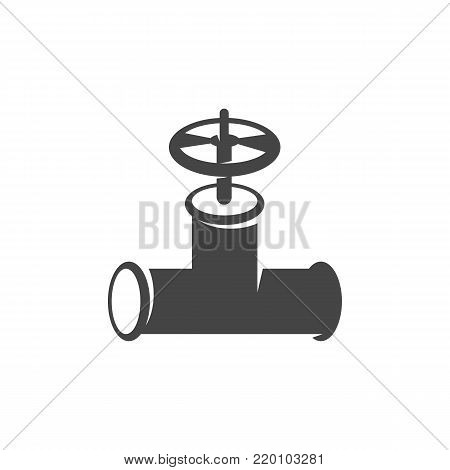 Pipe with valve icon on white background. Pipe with valve vector logo illustration isolated sign symbol. Modern pictogram for web graphics