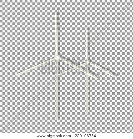 Wind Turbines vector icon symbol in flat isometric design on transparent background. -stock vector