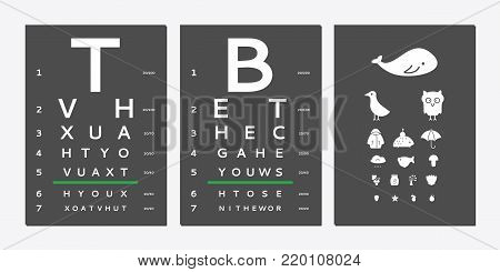 Various versions of the table for eye tests the adult and children's options isolated on white background. Vision test board optometrist