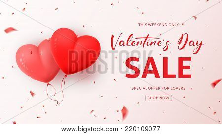 Promo Web Banner for Valentine's Day Sale. Beautiful Background with Realistic Air Balloons in the Shape of Heart. Vector Illustration  with Confetti and Serpentine.
