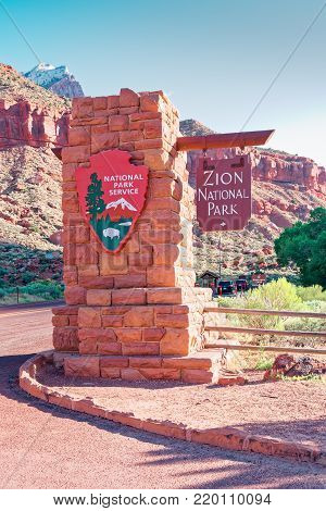 Zion National Park, United States - June 03, 2017:  Entrance to Zion National ParkCanyon in the state of Utah southwest of the United States. Impressive rock formations and deep gorges engraved and shaped by the strength of the waters of the river.