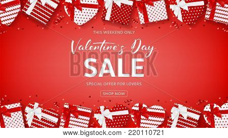 Promo Web Banner for Valentine's Day Sale. Top View on Composition with Gift Boxes, Confetti and Serpentine on Red Background. Vector Illustration with Lettering. Seasonal Discount Offer.