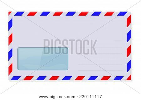 International mail envelope with address window. Vector 3d illustration isolated on white background