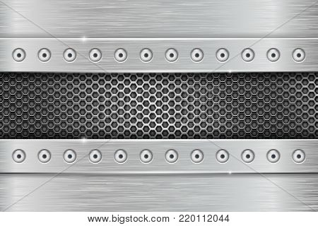 Metal texture with brushed iron plate with rivets and perforation. Vector 3d illustration