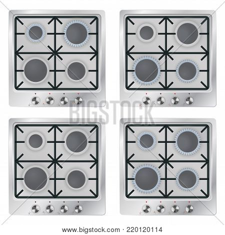 Gas cooktop. Vector 3d illustration isolated on white background