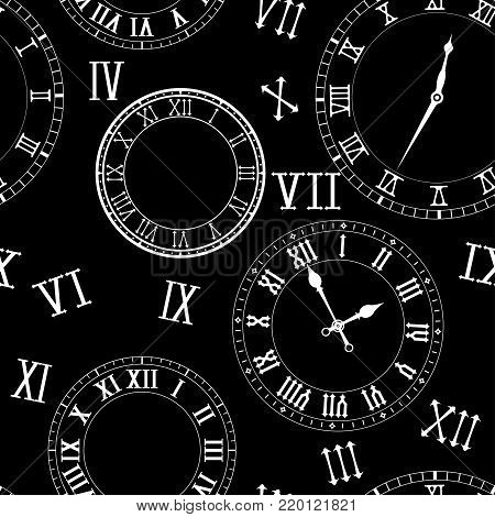 Old vintage clock elements with roman numerals. On black background. Vector illustration