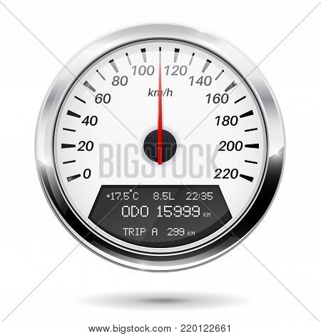 Speedometer. Round gauge with chrome frame. Vector illustration isolated on white background