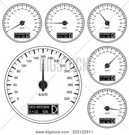 Speedometers. Black illustration isolated on white background