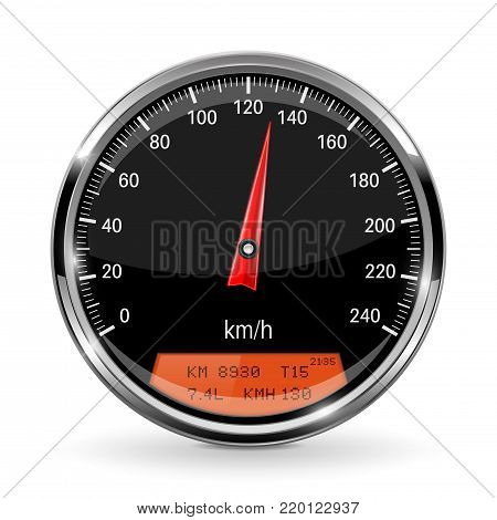 Speedometer. Round gage with metal frame. Vector 3d illustration isolated on white background