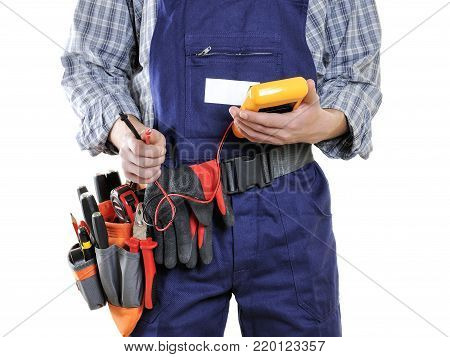 Young Electrician Technician In Clothes And Work Tools Isolated On White Background.