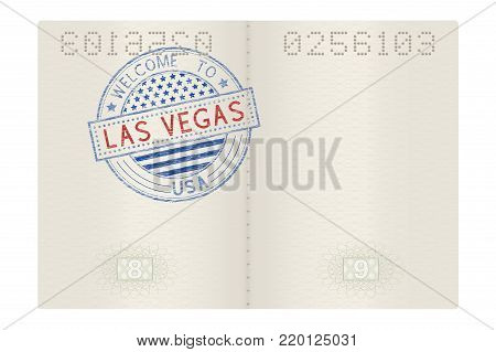 Passport pages with Welcome to Las Vegas stamp. Tourist sign. Vector 3d illustration