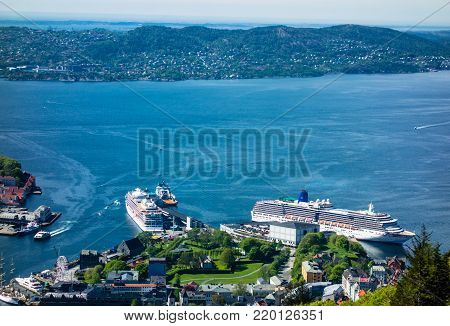 BERGEN, NORWAY - MAY 19, 2017: The Bergen Port in the city center has the capcity to handle large cruise ships.