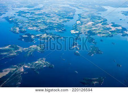 Aerial view of archipelago islands on Lake Malar, Sweden.