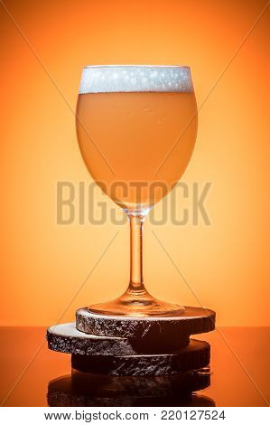 Three Empty Wineglass For Red Wine On Diffusion Lit Background In Abstract .. Composition With Refle