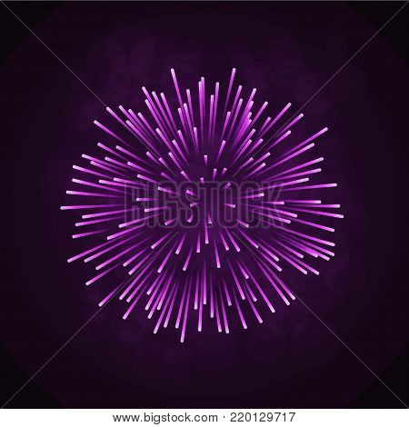 Beautiful pink firework. Bright firework isolated on black background. Light purple decoration firework for Christmas, New Year celebration, holiday, festival, birthday card Vector illustration