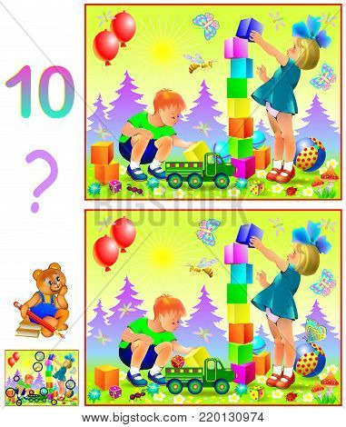 Logic puzzle game for young children. Need to find ten differences. Developing skills for counting. Vector cartoon image.